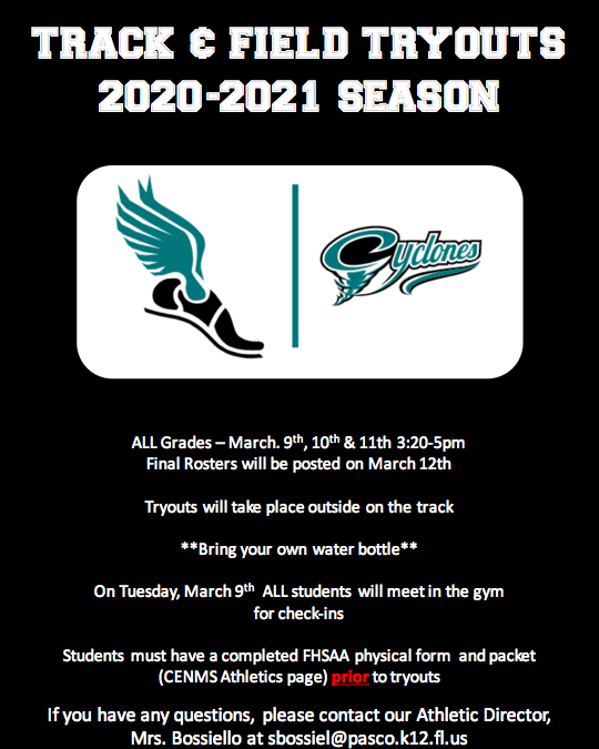 Track Tryout Information